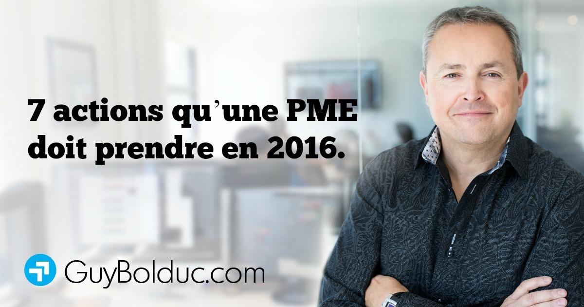 7 actions qu'une PME doit prendre en 2016.